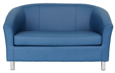 Tritium Leather Two Seater Sofa In Royal Blue Front View