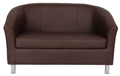 Tritium Brown Leather Sofas With Chrome Feet Front View