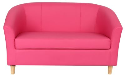 Tritium Two Seater Sofa In Pink With Wooden Feet Front View