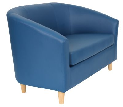 Tritium Navy Blue Leather Sofa With Wooden Feet Angle View
