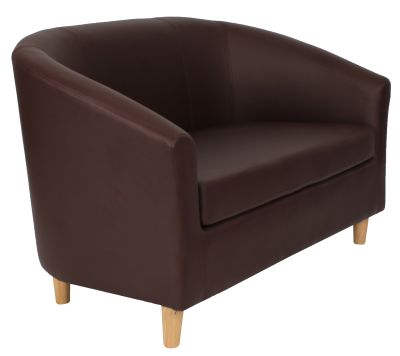 Tritium Brown Faux Leather Sofa With Wooden Feet Angle View