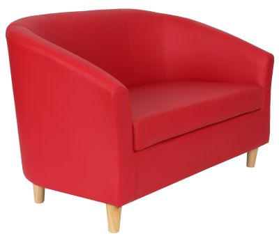 Tritium Red Leather Two Seater Sofa With Wooden Feet Angle View