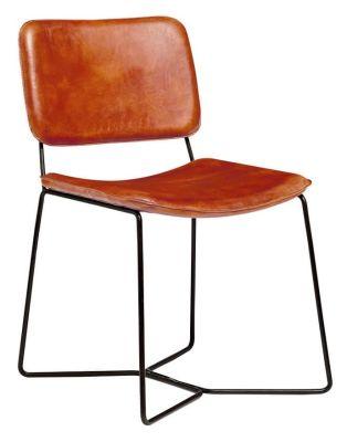 Danka Tan Leather Side Chair