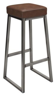 Saxony Industrial Style High Stool Witha Faux Learher Seat