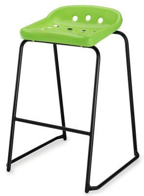 Pepperpot High Stool With A Green Seat And Black Froma Front Angle Viewe