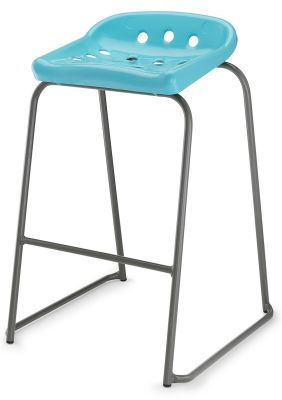 Pepperpot High Stool With A Blue Seat Front Angle View