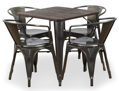 Four Metal Armchairs And Bistro Table Bundle