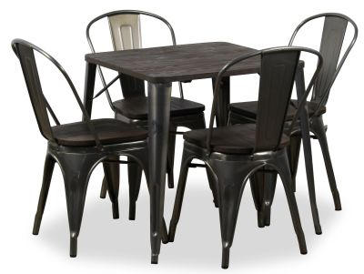 Four Metal Chair And Bistro Table Bundle