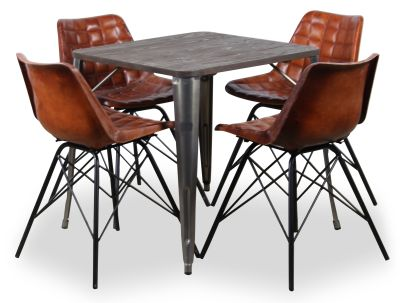 Four Leather Chairs And Cedar Bistro Table Bundle