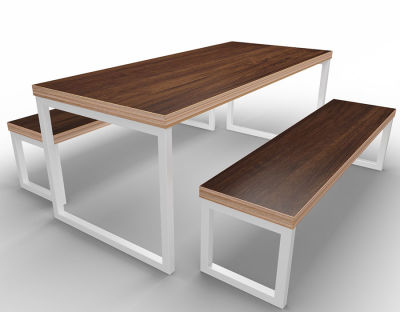 Rawling Bench Dining Set Ply Oak White