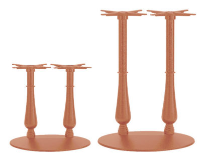 Serent Coloured Ornamental Twin Table Bases Beige Red