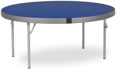 Rapid Fast Fold Round Folding Table With A Blue Top