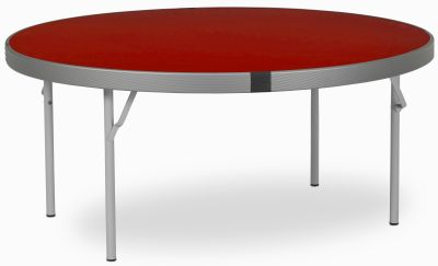 Rapid Fast Fold Round Folding Table With A Red Top