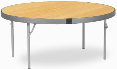 Rapid Fast Fold Round Folding Table With An Oak Top