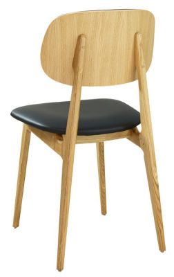 Garda Side Chair Oak Seren Faux Leather Seat (Back View)