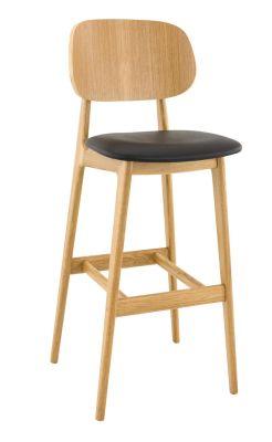 Garda Bar Chair Oak Seren Faux Leather Seat