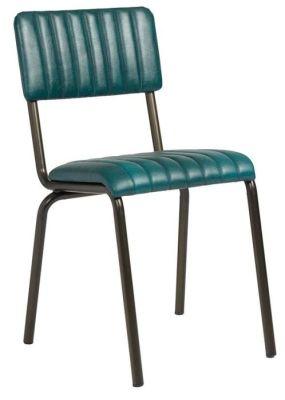 Krylo Vintage Ribbed Leather Chair Teal