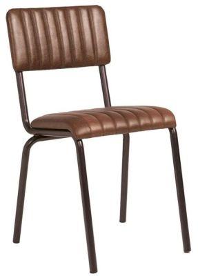 Krylo Vintage Ribbed Leather Chair Brown