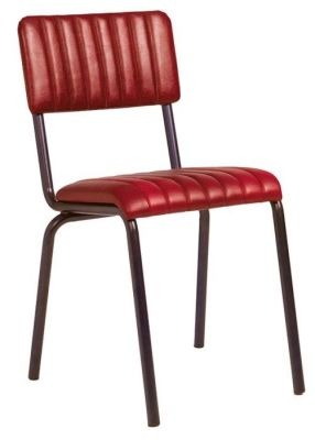 Krylo Vintage Ribbed Leather Chair Red