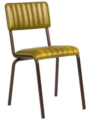 Krylo Vintage Ribbed Leather Chair Gold