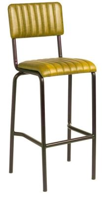 Krylo Vintage Ribbed Leather High Stool Gold