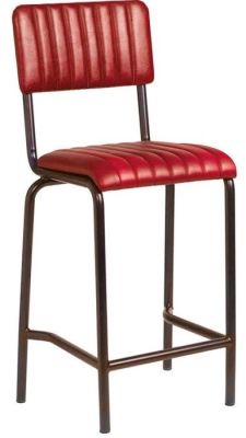 Krylo Mid Height Vintage Ribbed Leather High Stool Red