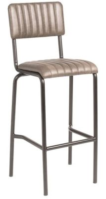 Krylo Full Height Vintage Ribbed Leather High Stool Silver