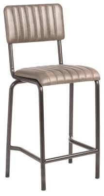 Krylo Mid Height Vintage Ribbed Leather High Stool Silver