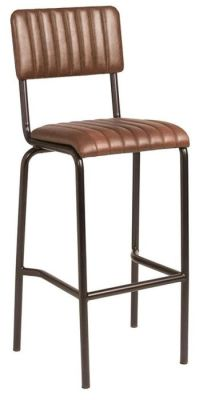 Krylo Full Height Vintage Ribbed Leather High Stool Brown