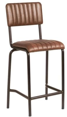 Krylo Mid Height Vintage Ribbed Leather High Stool Brown