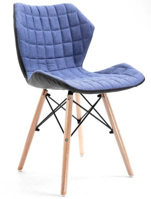 Santan Denim Fabric Chair Angled View