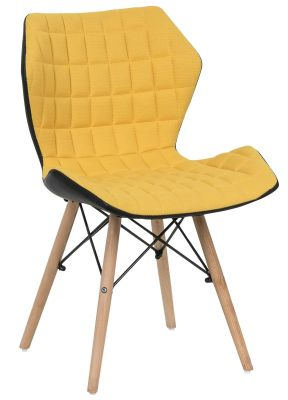 Santan Mustard Fabric Chair Angled View