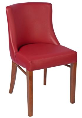 Fortey Leather Dining Side Chair Burgundy