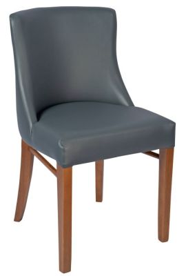 Fortey Leather Dining Side Chair Grey