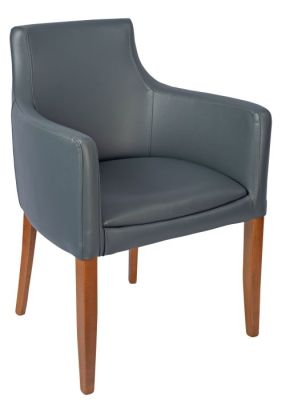 Fortey Leather Dining Arm Chair Grey