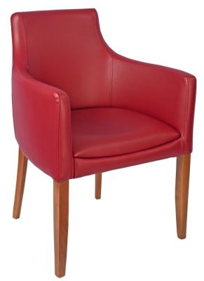 Fortey Leather Dining Arm Chair Burgundy