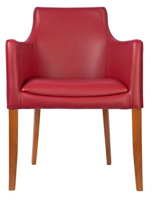 Fortey Leather Dining Arm Chair Burgundy Front View