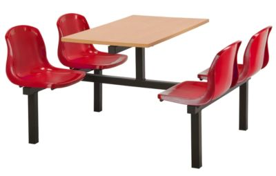 Totnes Fast Food Unit Double Sided 4 Seater Red Beech