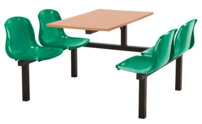 Totnes Fast Food Unit Single Sided 4 Seater Green Beech