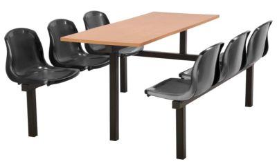 Totnes Fast Food Unit Single Sided 6 Seater Black Beech