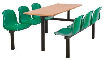Totnes Fast Food Unit Single Sided 6 Seater Green Beech