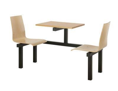 2 Person Wooden Fast Food Unit With Beech Top And Black Frame