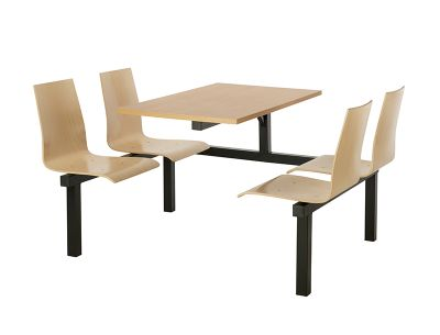 4 Person Single Access Wooden Fast Food Unit With Beech Top And Black Frame