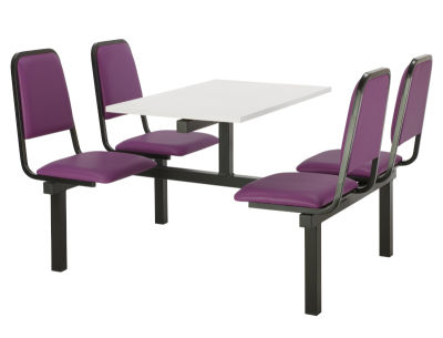 4 Person Double Access Fast Food Seating With Purple Vinyl Seating And White Table Top