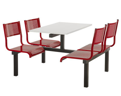 4 Person Double Access Metal Fast Food Seating Unit With Red Seats And White Table Top