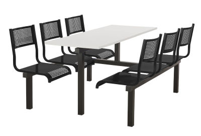 6 Person Double Access Metal Fast Food Seating Unit With Black Seats And White Table Top