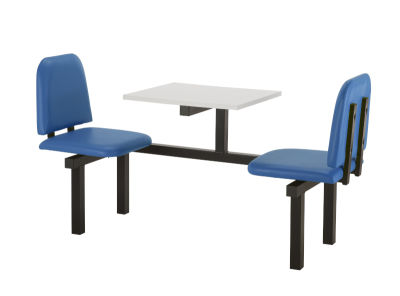 2 Person Single Access Fast Food Bench Unit With Blue Vinyl Seating And White Table