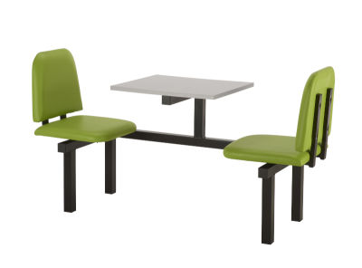 2 Person Single Access Fast Food Bench Unit With Green Vinyl Seating And Grey Table