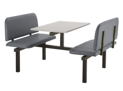 4 Person Double Access Fast Food Bench Unit With Grey Vinyl Seating And Grey Table