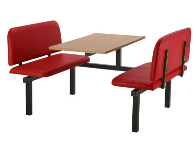 4 Person Single Access Fast Food Bench Unit With Red Vinyl Seating And Beech Table